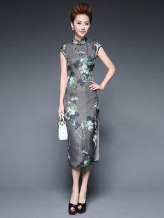 Gray Tea-Length Qipao / Cheongsam Dress in Floral Print