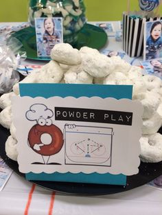 Raylen Jax's first birthday with a San Jose Sharks hockey theme - Power Play... powdered donuts = powder play