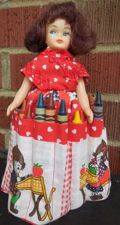 Vintage Crayon Caddy / Crayon Keeper Doll  Crayon by Clutterina