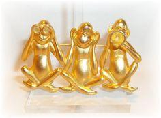See No Evil Monkeys AJC pin brooch by dollherup on Etsy, $15.00