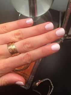 The most perfect pale, opaque pink CND Shellac combo: one layer of cake pop with one layer of romantique on top. #shellac #cnd #cartier