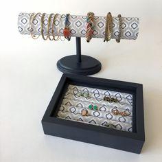 Medium Bracelet/Ring Organizer Set-dark gray, Stud Earring Holder, Earring Organizer, Home Decor, Jewelry Display by JMKPracticalDesigns on Etsy
