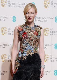 Cate Blanchett en boucles d'oreilles diamants Tiffany & Co aux BAFTAS