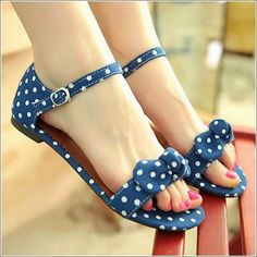 Lovely Polka Dots Clothing Upper with Bowknot Plus Size Sandals