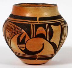 Acoma Pottery Olla H 4 DIA 5 Not signed, century. Antique Pottery, Ceramic Pottery, Pottery Art, Native American Pottery, Native American Indians, Native Indian, Native Art, Southwest Pottery, Pueblo Pottery