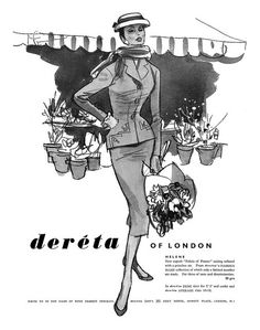An elegant 1956 Deréta of London ad. #vintage #1950s #fabric #suits