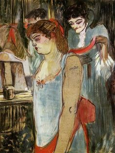 Henri de Toulouse-Lautrec, La femme tatouée (The Tattooed Woman) (1894)  1894 on ArtStack #henri-de-toulouse-lautrec #art