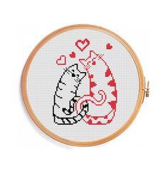 Love Cats Cross Stitch Pattern by PatternsCrossStitch on Etsy, $3.00