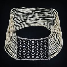 Edwardian Diamond and Mulit-Strand Pearl Collier de Chien.  Photo Courtesy of Lang Antiques
