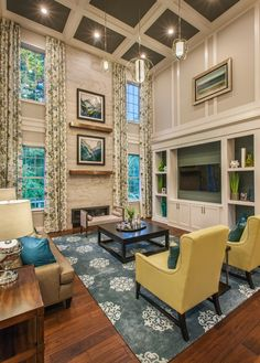 High Ceiling Living Room, Home Living Room, Living Room Designs, Toll Brothers, Built In Entertainment Center, Family Room Design, New Homes For Sale, Built Ins, Great Rooms