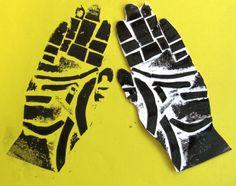 Hand prints - collograph