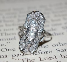 Antique Mine Cut Diamond Deco White Gold Dinner Cocktail Ring - Love, love, love this vintage ring! (KO) Mine cut diamonds were cut in or near the mines where the - Antique Rings, Vintage Rings, Antique Jewelry, Vintage Jewelry, Ruby Jewelry, Jewelry Rings, Jewelery, Bijoux Art Deco, Art Deco Jewelry