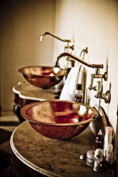 Get a bathroom color that suits your style and attitude. Here are a few bathroom color ideas and tips for choosing just the right bathroom paint. Steampunk Bathroom, Victorian Bathroom, Copper Bathroom, Small Bathroom, Bathroom Ideas, Bathroom Designs, Bathroom Showers, Shower Ideas, Copper Sinks