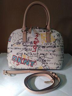 Dkny Saffiano Elissa Speedy White Graffiti Satchel Dome Handbag R74D1246 ff7187c44