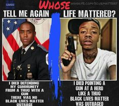 "Black Lives Matter picks and chooses who matters. Black policemen or policewomen? Hell no. Man who was black and a child molester? Let's throw a parade. Because at the end of the day, if your a cop you are crooked. And if your black and died, it doesn't matter your character, only your skin color, and that is what ""matters"" to BLM"