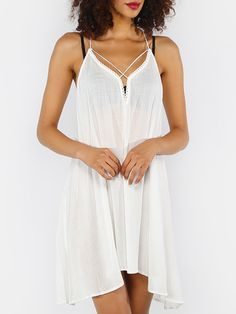 White Crisscross Tie Back Asymmetrical Dress -White Sexy Rayon Spaghetti Strap Sleeveless Asymmetrical Short Fringe Plain Fabric has some stretch Summer Slip - women party and cocktail dress, women party collection - http://airctb.com/product/white-crisscross-tie-back-asymmetrical-dress/