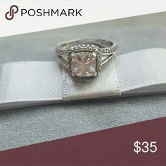 Silver ring with cubic zirconia stone. Size 6 This is a used silver ring with cubic zirconia stone.  Size 6 no name Jewelry Rings