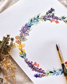Here's the wreath I painted during last Saturday's workshop 🌸☺ I'm flying off to Yogyakarta tomorrow, then Bali - finally! Wreath Watercolor, Watercolor Cards, Watercolour Painting, Watercolor Flowers, Painting & Drawing, Watercolors, Watercolor Portraits, Watercolor Landscape, Watercolor Artists