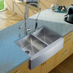 Vigo Industries VG15092 Farmhouse Double Bowl Kitchen Set W/ Faucet, Two Strainers & Dispensers Platinum Stainless Steel \\ 943.07 \\ item sku: VG15092