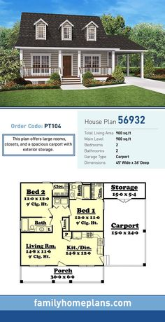 Tiny House Plan 56932 Total Living Area 900 SQ FT 2 bedrooms and 2 bathrooms This plan offers large rooms closets and a spacious carport with exterior storage Small Room Design, Tiny House Design, Home Design, Design Ideas, Small House Floor Plans, Cabin House Plans, 2 Bedroom House Plans, Small House Plans Under 1000 Sq Ft, Small Home Plans