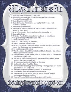 A list of 25 Things fun to do leading up to Christmas! {also service and learning}