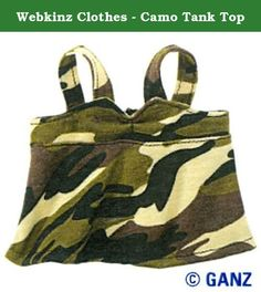 Webkinz Clothes - Camo Tank Top. Camo Tank Top is designed especially for your Webkinz pet. Comes in its original sealed package with feature code enclosed.