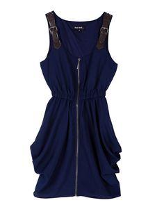 Blue Stiching Leather Spaghetti Stra Zippered Waist Dress