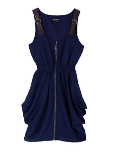 Blue Stiching Leather Spaghetti Stra Zippered Waist Dress