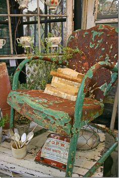 rusty green - I have one of these on my porch, still working on the patina, though Wabi Sabi, Metal Lawn Chairs, Rust Never Sleeps, Rust In Peace, Peeling Paint, Rusty Metal, Antique Metal, Rustic Lighting, Industrial Lighting