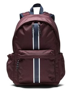 2b5dddeffd4 Banana Republic Mens Racing Stripe Backpack Burgundy Red Size One