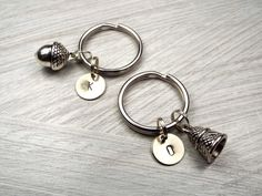 Peter Pan Kiss Key Chains, Set of 2 with Hand Stamped Initials $16 via @shopseen