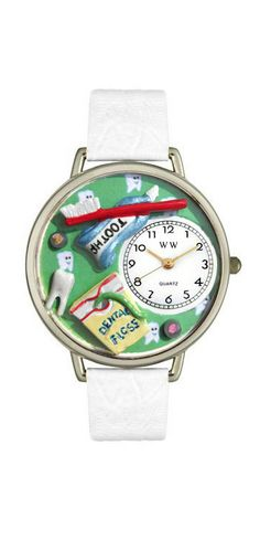 Tells you the time and is super cute with it's tiny toothbrush, floss, toothpaste and little teeth! Whimsical Watches Dental Assistant Watch - Featured here in silver - Italian leather band in complementary colors #Watch #Dental | allheart.com