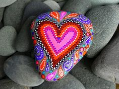 Painted rock heart...love the colors....