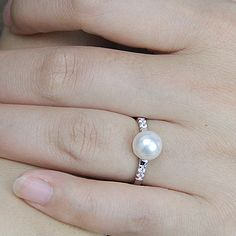 Pearl wedding rings for women,open pearl ring,inexpensive engagement rings,fashion rings,cheap promise rings,fake diamond rings real pearls by PearlOnly on Etsy https://www.etsy.com/listing/201921186/pearl-wedding-rings-for-womenopen-pearl