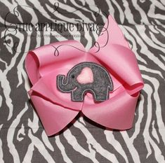 Valentine Love Elephant Hair Bow Center Digital by theappliquediva, $2.99