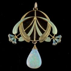 An 18 carat gold enameled pendant with a large opal drop and small diamonds in the eucalyptus buds. Signed E. FEUILLÂTRE (Eugene  Feuillâtre, French 1879-1916).