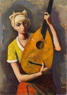 Karl Hofer (German, 1878 - 1955) - Girl with lute, 1937                                                                                                                                                                                 More