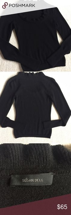 "Black Cashmere Sweater Susan Dell Cashmere Sweater  Beautiful, soft sweater has a scoop neck with a small ruffle along the edge.  Size Small  Length (shoulder to hem) 20"" Sleeve Length 24"" Sweaters"