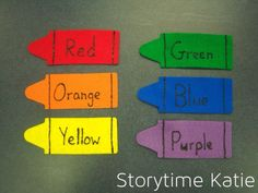"Storytime Katie: Flannelboard: ""I Have a Crayon"" I have a crayon, I'll give it to you. Here is my crayon, my crayon of blue..."