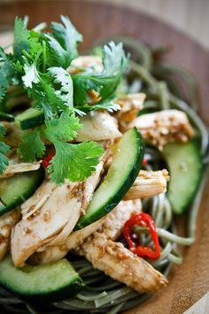 Asian Sesame Chicken Noodle Salad Recipe | Steamy Kitchen Recipes