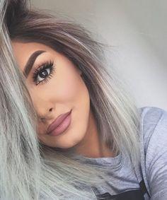 joliment, sourcils, fille, gris, cheveux - image #3877338 par ...