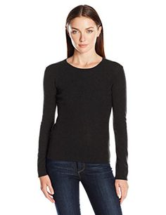 Lark  Ro Womens 100 Percent Cashmere 2 Ply Slim Fit Basic Crewneck Sweater Black Small *** Click image for more details.