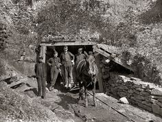 Drift Mouth: October 1908. Drift Mouth, Sand Lick Mine, near Grafton, West Virginia. Bank boss in center, driver on his right, trapper boy outside. Alfred, about 14 years old. He trapped several years during vacation, said he is going to school this year. Asked if it were because school is more fun, he said: This year haint no fun! Photograph and caption by Lewis Wickes Hine.
