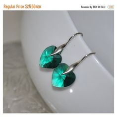 SALE Heart Earrings, Emerald Green Earrings, Sterling Silver, Dangle... (42 BGN) ❤ liked on Polyvore featuring jewelry and earrings