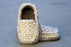 Crochet Pattern  Baby Boy  Lil' Loafers by TwoGirlsPatterns sloffen