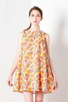 Easy, breezy linen Summer tent dress - opal giraffe print - beautifully colorful Size 8 UK 4 - Small