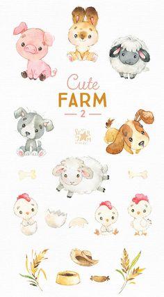 Cute Illustration, Watercolor Illustration, Watercolor Art, Animal Drawings, Cute Drawings, Farm Animals, Cute Animals, Small Animals, 2 Clipart