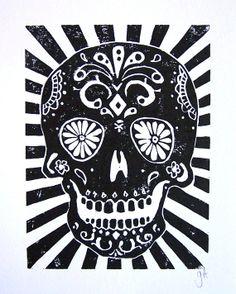 PRINT  Day of the dead skull LINOCUT 8x10 por thebigharumph en Etsy, $25,00