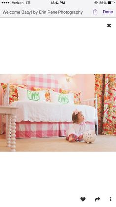Pink and white buffalo check upholstered bed