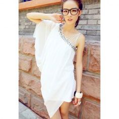 $8.47 Fashionable Style Collarless Sleeveless Solid Color Chiffon Dress For Women